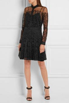 Black Chantilly lace Partially concealed button fastenings along front  Fabric1: 70% polyester, 30% polyamide; fabric2: 100% silk Dry clean