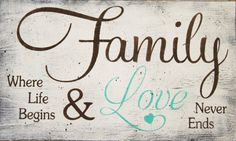 Family where life begins and love never ends! This is a wood sign that measures 20 x 12. The background shown here is White. Lettering is Burnt Umber. The word love and heart is Ceram Turquoise. This piece is handpainted and sanded for a distressed/shabby chic/vintage look. It is then sealed with a water based finish. The back is left unfinished and comes ready to hang.