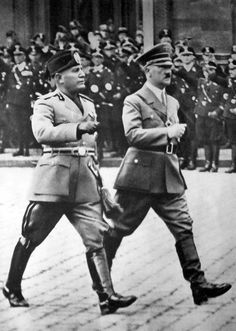 "Mussolini pays an official visit to Berlin, Hitler thought highly of the Italian dictator and the two shared an unusual rapport. Hitler praised Mussolini routinely in private and hailed him as a ""pioneer"" in the ""New Europe. World History, World War Ii, The Third Reich, Military History, Historical Photos, Wwii, People, Berlin Germany, Pan Africanism"