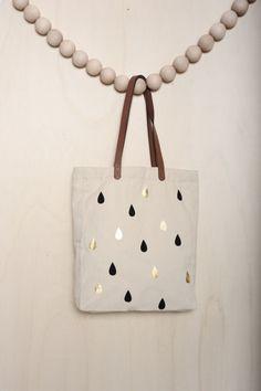 sac Zouzou drops noir 100% coton - anses 100% cuir - autres accessoires Femme - Des Petits Hauts