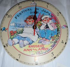RARE NEW 2002 Raggedy Ann & Andy Festival In Japan Wooden Clock with Pendulum #SimonSchuster #Clock