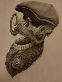 Cool bearded skull with a flat cap