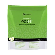 """Ultimate ProFIT® - Creamy Vanilla   It Works - Whether your goal is weight loss, athletic performance, or a simple way to eat healthy, Ultimate ProFIT Superfood Nutrition Mix offers a superior blend of proteins, mood-elevating """"superfoods,"""" and fiber that is proven to produce ultimate results*. Use it in shakes or smoothies, bake with it, or even mix it with your food!"""