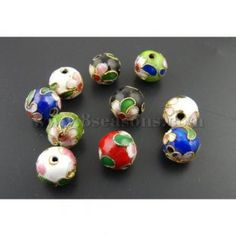 Buy wholesale 30pcs cloisonne ball spacer beads assorted colors 10mm at low price , metal beads on sale for wholesale prices at 8seasons.com