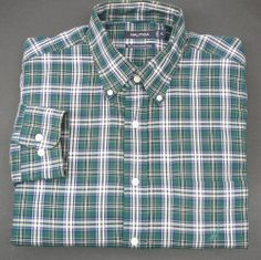 NAUTICA mens Shirt XL Free Shipping casual LS green plaid long sleeve #Nautica #ButtonFront