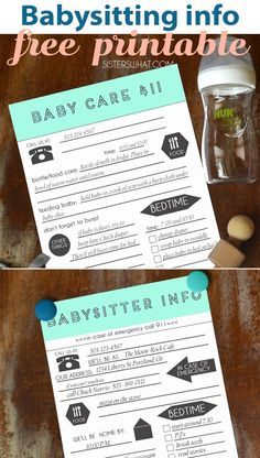Free printable free baby sitting printables for the next time you leave your kids and baby with a babysitter. Free Printable Art, Free Printables, Babysitter Printable, Taking Care Of Baby, Baby Sitting, Email Subject Lines, Emergency Call, Blog Names, Parent Resources