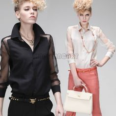 Women Casual Career Sheer Perspective Skinny Chiffon Shirt Tops Blouse S/M/LPQ591-in Blouses & Shirts from Apparel & Accessories on Aliexpress.com | Alibaba Group