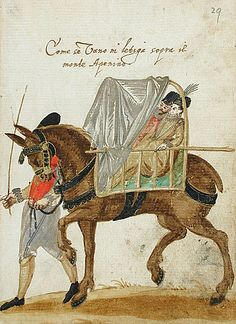 Mode of travel by litter (palanquin) over the Apennines. Album Amicorum of a German Soldier, 1595