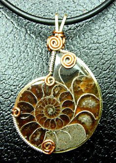 wire wrapped ammonite tutorial | Wire wrapped Ammonite Fossil Necklace.