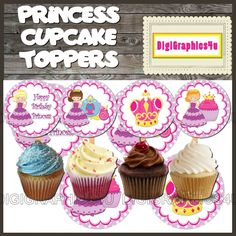 Printable Happy Birthday Purple Princess 2 inch Cupcake Toppers Jewelry Keychains and more!