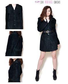Leather Coat Black Coat Suede coat Black Long Jacket Hot Woman's Clothing Short Coat 90s Coat Rock Rocker Sexy Outerwear Size M by SixVintageChicks on Etsy