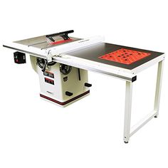 Turn a poor-performing bench top table saw into a champ with JET Deluxe XACTA SAW Table Saw with Fence, Cast Iron Wings, Riving Knife and Downdraft Table.