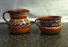 Vintage MEXICAN Tlaquepaque Redware Art Pottery Pitcher Creamer Pair