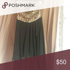 Gold shimmer high low dress! Flowy black high low bottom, sparkly gold top. Perfect for going out! AKIRA Dresses High Low