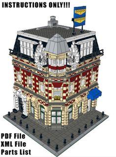 Lego-Custom-modulare-Edilizia-Corner-Shop-amp-apartments-ISTRUZIONI-SOLO-10182