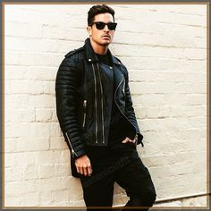 Men's Celebrity Genuine Lambskin Mens Stylish Rider Jacket slim fit Biker A56 #AriesLeathers #Motorcycle