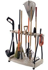 Idea for storing all long handled gardening tools, brooms, etc?