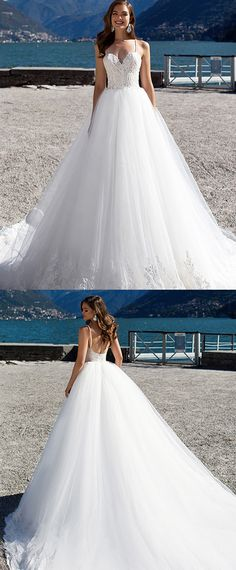 Fabulous Tulle & Satin Spaghetti Straps A-Line Wedding Dresses With Beaded Lace Appliques