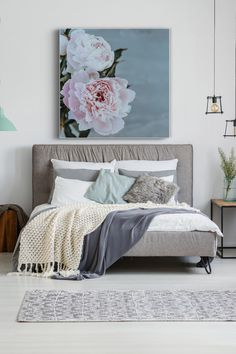 """The Chinese name for the peony is """"sho yu"""", that means """"most beautiful"""". No wonder why there are so many people fell in love with peonies for centuries.  This floral canvas art print will be a nice addition to any interior: from your bedroom to a vacation home."""