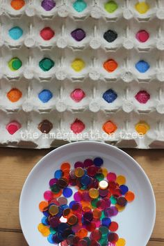 egg carton color sorting for kids from The Imagination Tree