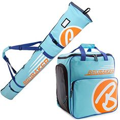 BRUBAKER Champion Combo  Limited Edition  Ski Boot Bag and Ski Bag for 1 Pair of Ski up to 170 cm Poles Boots and Helmet  Light Blue Orange >>> You can get more details by clicking on the image. (This is an affiliate link)