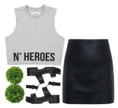 """""""-"""" by emilypondng ❤ liked on Polyvore featuring McQ by Alexander McQueen, Topshop and Mills Floral Company"""