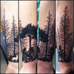 Black Ink Forest Trees Tattoos On Sleeve