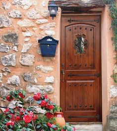 "2 Panel V-Grooved Clavos Fiberglass Single Door Tall 80"" - mediterranean - front doors - tampa - by US Door & More Inc"