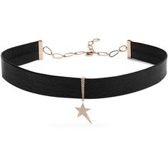 Diane Kordas Diamond, rose-gold & leather choker (64,360 MXN) ❤ liked on Polyvore featuring jewelry, necklaces, diamond pendant, pave diamond necklace, pave diamond pendant, diamond choker and pendant necklace