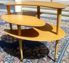 """Heywood Wakefield three tier table - It would be so easy for modern furniture makers to do something """"like"""" this ... not a copy ... why don't they?"""
