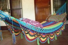 Hammocks, Beautiful Turquoise Double Hammock hand-woven Natural Cotton Special Fringe. $58.00, via Etsy.