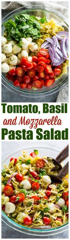 This Tomato, Basil, and Mozzarella Pasta Salad is fresh, fast, and flavorful! use GF pasta Vegetarian Recipes, Cooking Recipes, Healthy Recipes, Mozzarella Pasta, Basil Pasta, Vegan Mozzarella, Fresh Mozzarella, Fettucine Alfredo, Vegetable Pasta