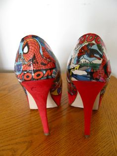 Shop for shoes on Etsy, the place to express your creativity through the buying and selling of handmade and vintage goods. Comic Book Shoes, Comic Books, Graduation Shoes, Senior Pictures, Nerdy, Comics, Trending Outfits, Heels, Unique Jewelry