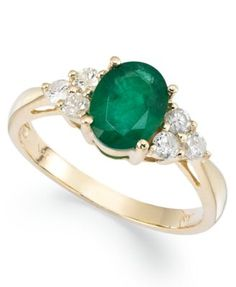 14k Gold Ring, Emerald (1-1/10 ct. t.w.) and Diamond (1/3 ct. t.w.) Oval Ring