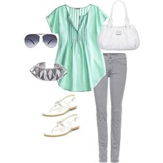 Mint grey & white, created by deangirl on Polyvore