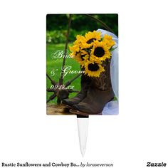 Shop Rustic Sunflowers and Cowboy Boots Country Wedding Cake Topper created by loraseverson. Western Wedding Cakes, Country Wedding Cake Toppers, Wedding Cupcake Toppers, Themed Wedding Cakes, Wedding Cupcakes, Cake Wedding, Beautiful Wedding Cakes, Gorgeous Cakes, Western Bridal Showers
