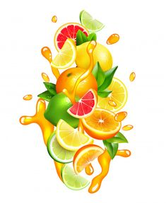 Citrus Fruits Juice Drops Colorful Composition by macrovector Fresh citrus fruits wedges slices and segment with orange juice splashes around colorful realistic composition vector illustration Vintage Grunge, Jugo Natural, Black Texture Background, Homemade Stickers, Cafe Concept, Juice Packaging, Juice Plus, Photoshop Design, Fruit Juice