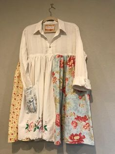 The Jamie Tunic: Upcycled tunic, shabby chic, pastel, floral, romantic, pintucked, vintage pillowcase, Melbury Road, sustainable clothing