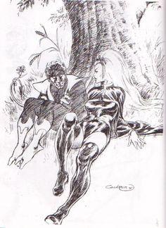 Storm and Nightcrawler by Dave Cockrum Comic Book Artists, Comic Artist, Comic Books Art, Marvel Comics, Marvel Art, Book Cover Art, Comic Book Covers, Comics Universe, Marvel Cinematic Universe