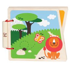 At the Zoo  Sturdy wooden pages and simple pictures encourage babies to read along with you. (8 pages)