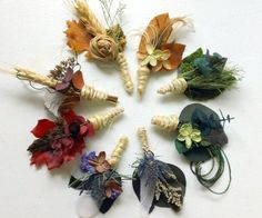 Rainbow Dried Flower Boutonniers from Etsy