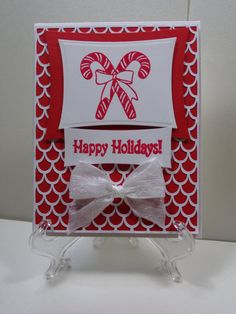 Happy Holidays Candy Cane Christmas Card by TheCraftieOne on Etsy, $5.50