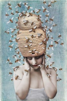 by Beth Conklin. Bee - have. I Love Bees, Bee Art, Bee Happy, Save The Bees, Bees Knees, Queen Bees, Bee Keeping, Surreal Art, Collage Art