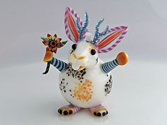 """'Magical Jackalope' Torch worked imaginary Creature Mini Art-Glass Perfume Bottle 