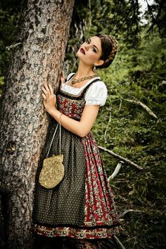 Oktoberfest Dirndl Dress / Dark Green / Germany / Bavaria