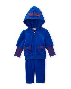 JUICY COUTURE Two-Piece Blue Velour Hoodie & Pant Set