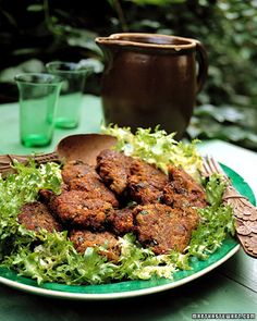 Eggplant Fritters - Martha Stewart Recipes (replace bread crumbs with almond meal)