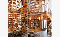 Borges would have liked this octagonal, multi-level library, with built in stairs and walkway.   Located in timeless Fitzroy, Melbourne hous...