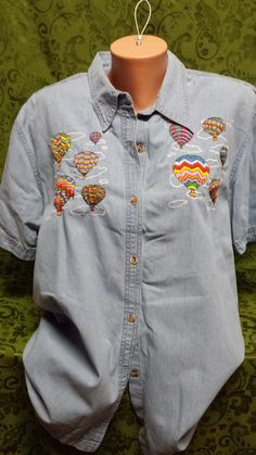 LT BLUE DENIM PASSIOU SHIRT EMBROIDERED AIR BALLOONS SIZE LARGE SHORT SLEEVE in Clothing, Shoes & Accessories, Women's Clothing, Tops & Blouses | eBay