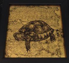 Verre eglomise tortoise